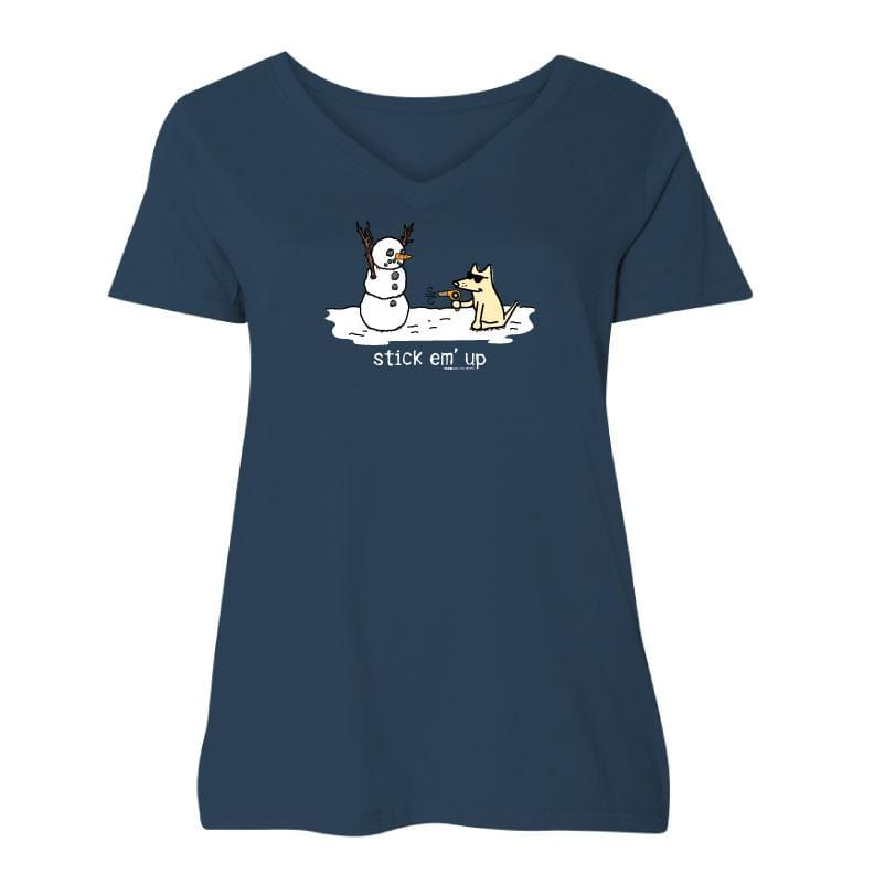 Stick Em' Up - Ladies Curvy V-Neck Tee