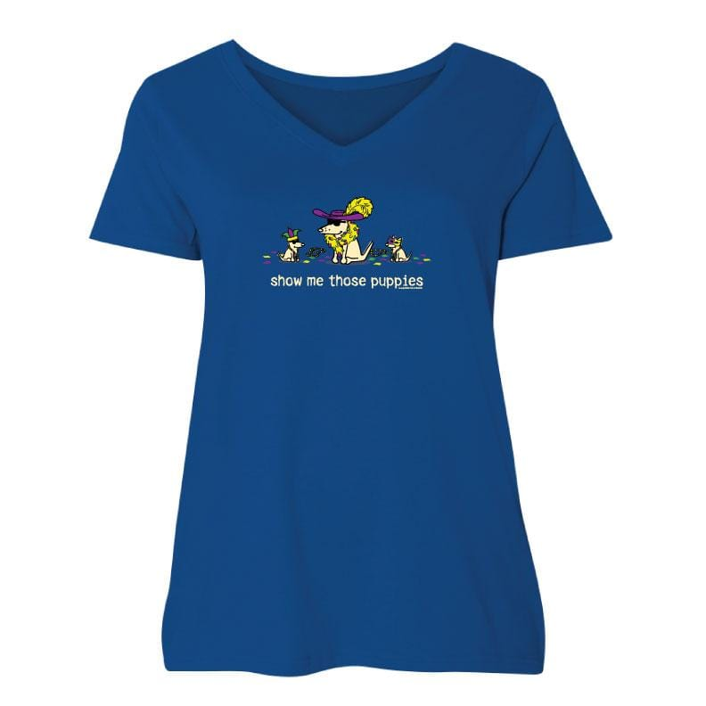 Show Me Those Puppies - Ladies Curvy V-Neck Tee