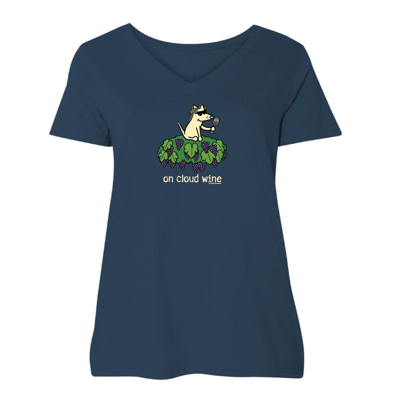 On Cloud Wine - Ladies Curvy V-Neck Tee