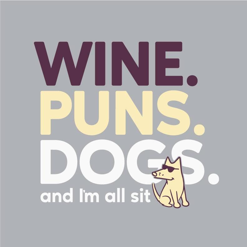 Wine Puns Dogs - Baseball T-Shirt