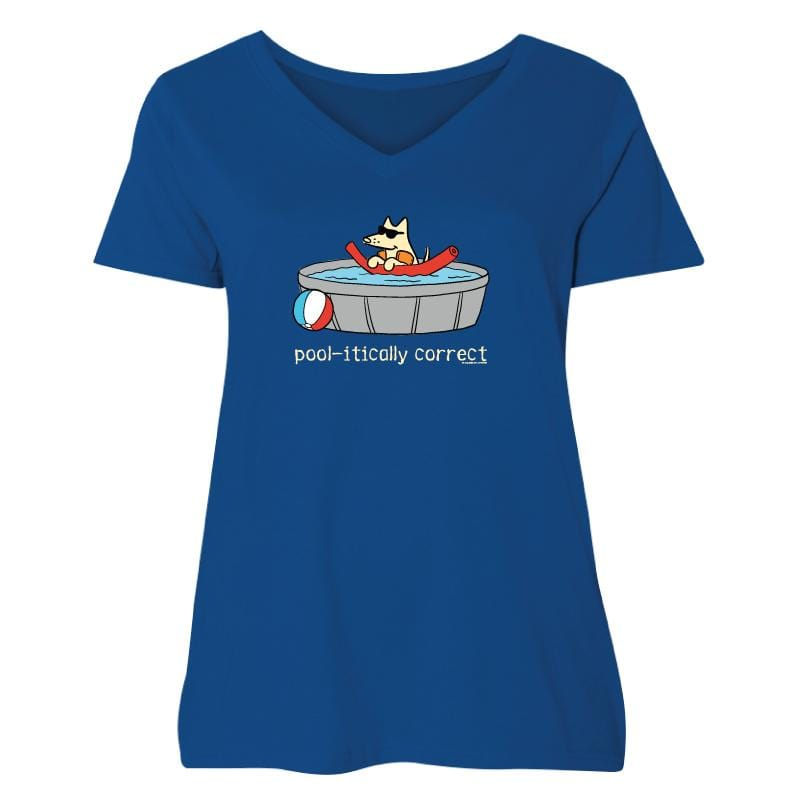 Pool-itically Correct - Ladies Curvy V-Neck Tee