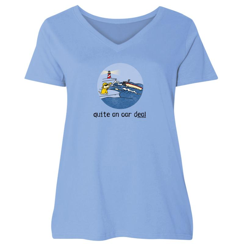 Quite An Oar Deal - Ladies Curvy V-Neck Tee