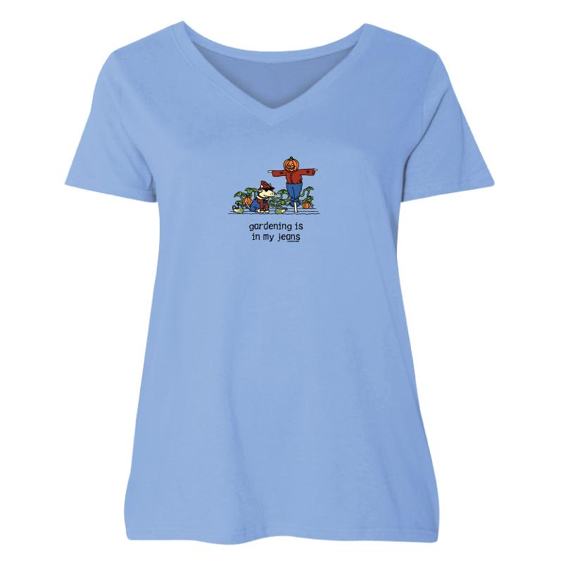 Gardening Is In My Jeans - Ladies Curvy V-Neck Tee