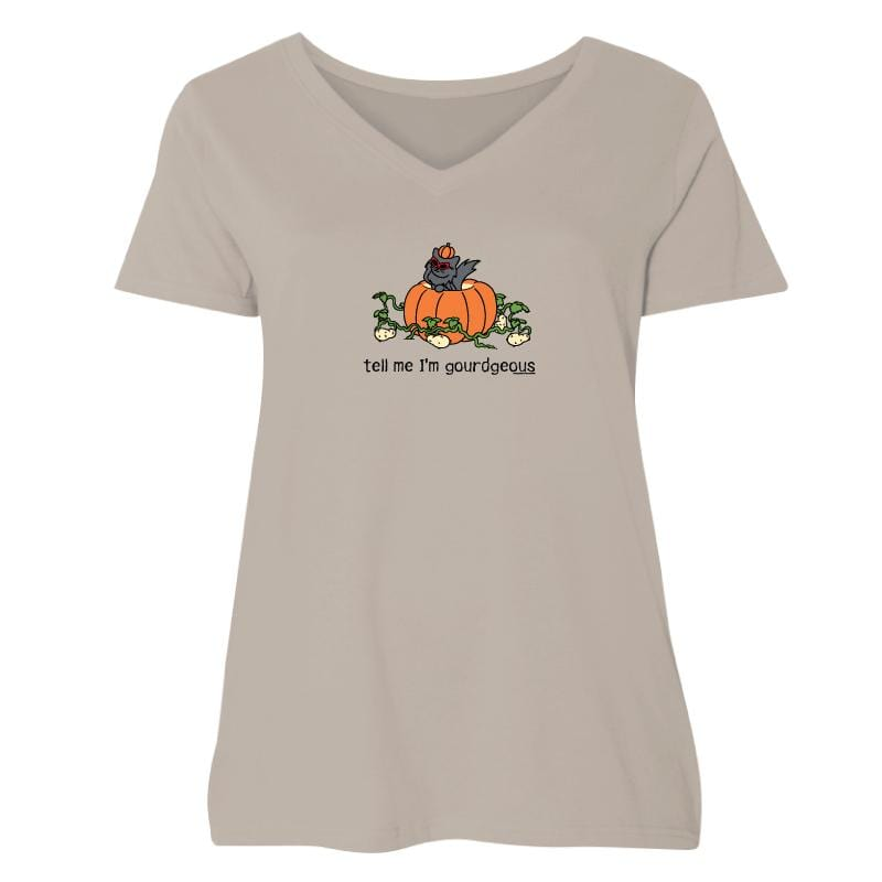 Tell Me I'm Gourdgeous - Ladies Curvy V-Neck Tee