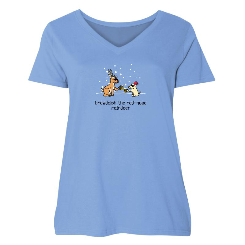 Brewdolph - Ladies Curvy V-Neck Tee