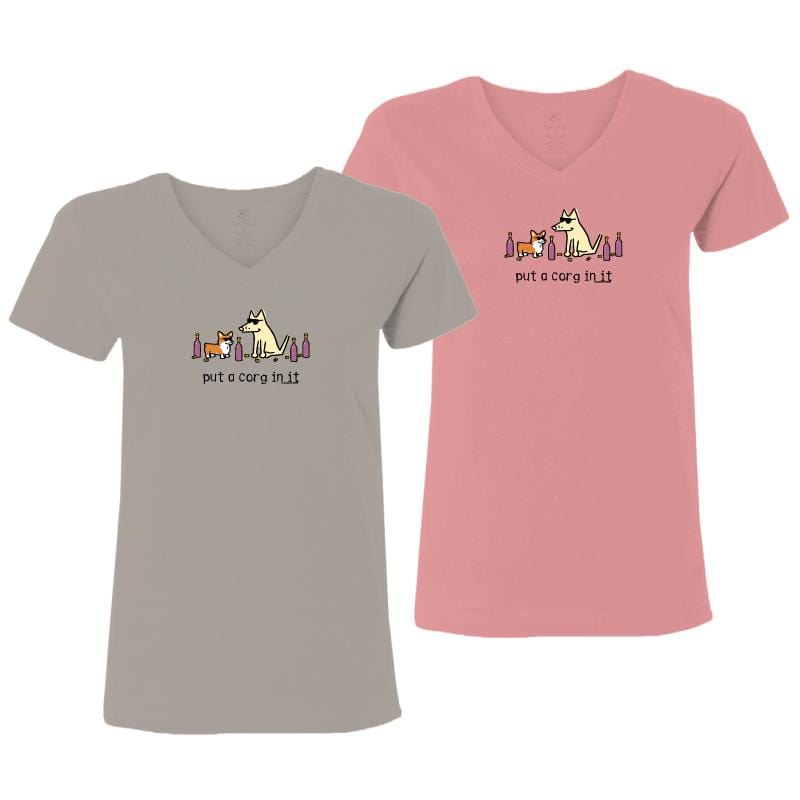 Put A Corg In It - Ladies T-Shirt V-Neck