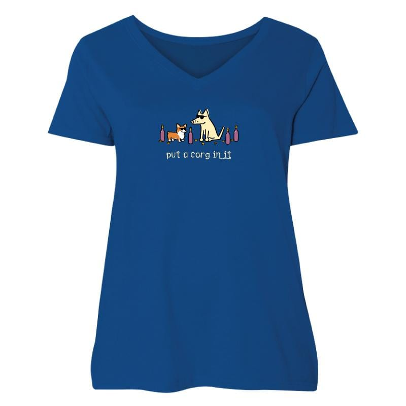 Put A Corg In It - Ladies Curvy V-Neck Tee