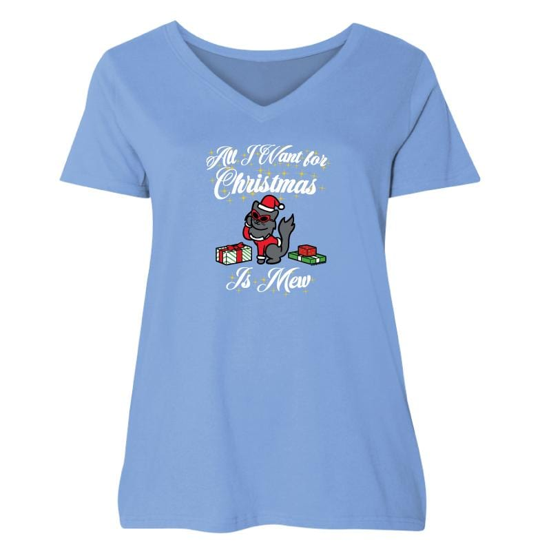All I Want For Christmas Is Mew - Ladies Curvy V-Neck Tee