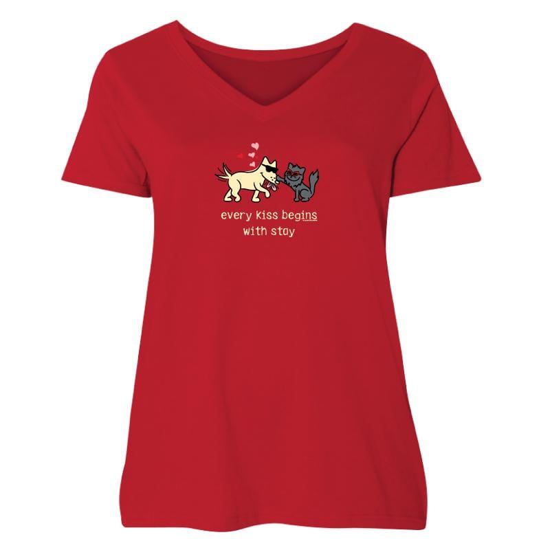 Every Kiss Begins With Stay - Ladies Curvy V-Neck Tee