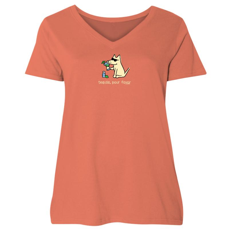 Tequila, Pour Favor - Ladies Curvy V-Neck Tee