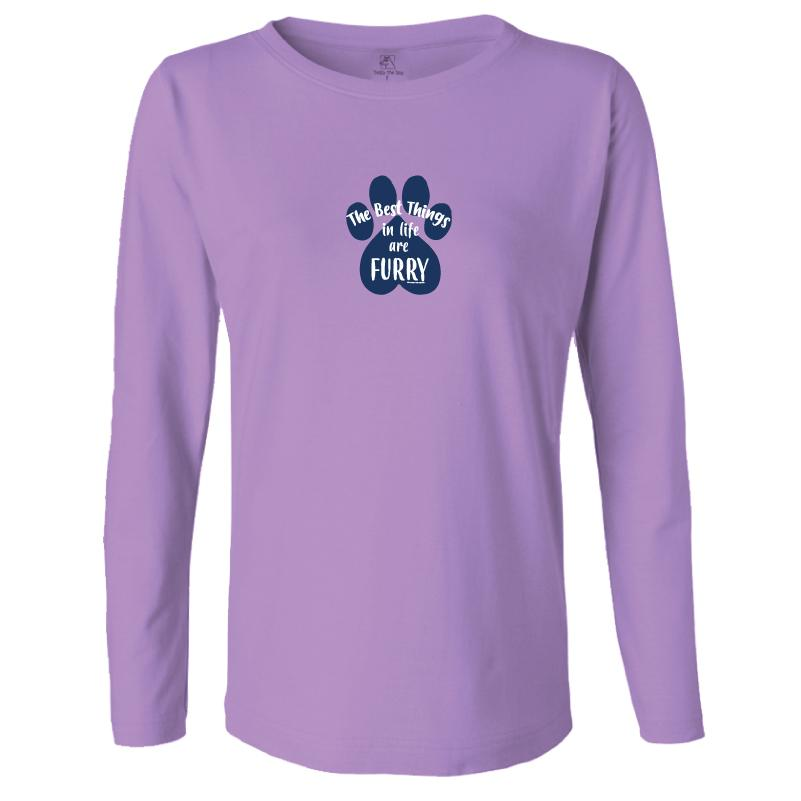 The Best Things In Life Are Furry - Ladies Long-Sleeve T-Shirt