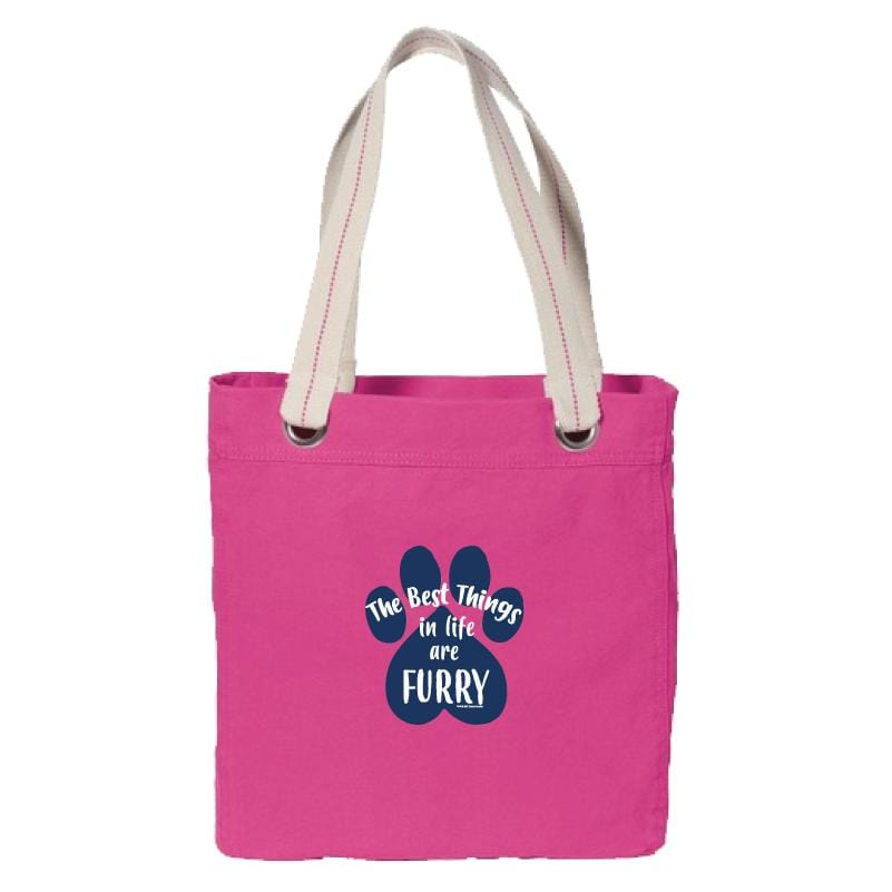 The Best Things In Life Are Furry - Canvas Tote