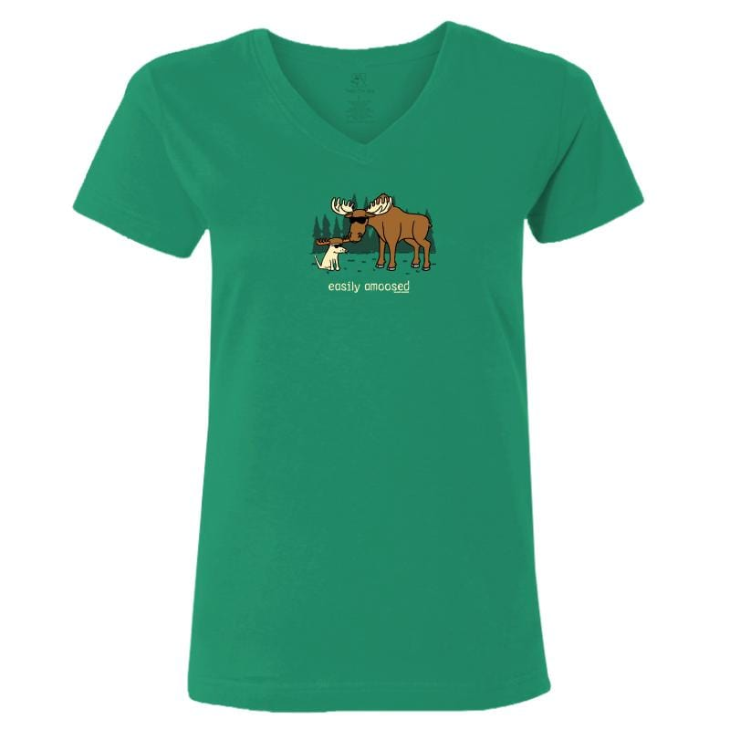 Easily Amoosed - Ladies T-Shirt V-Neck