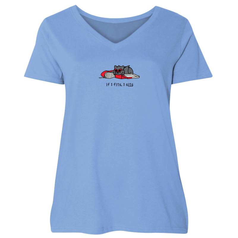 If I Fits, I Sits - Tilly - Ladies Curvy V-Neck Tee