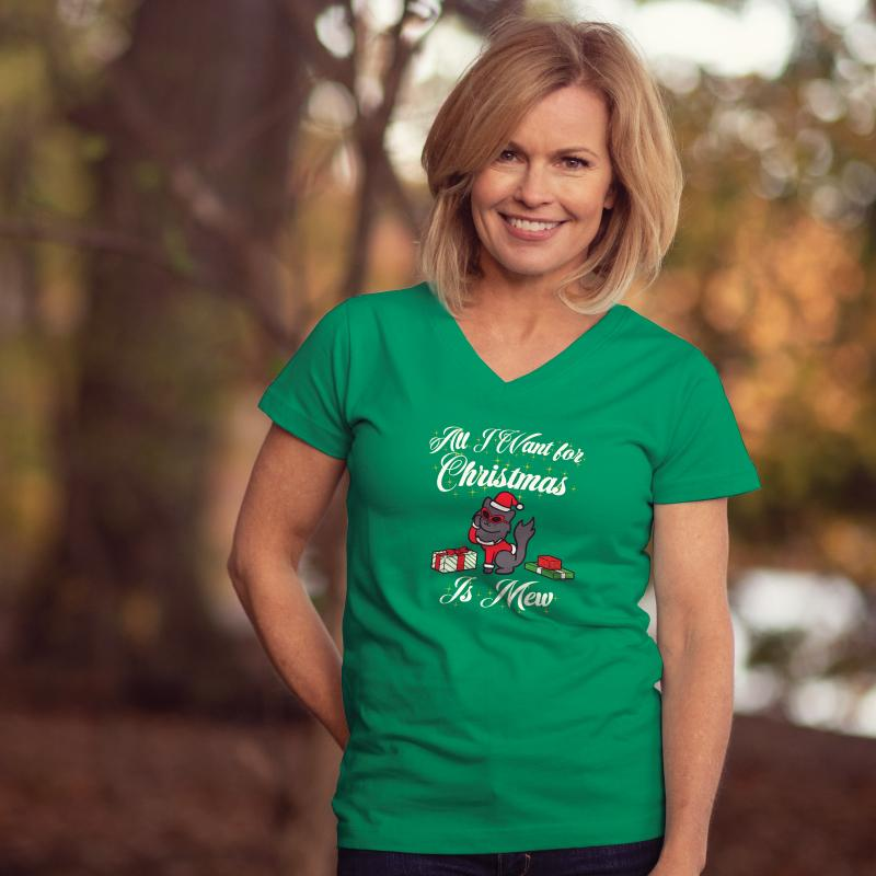 All I Want For Christmas Is Mew - Ladies T-Shirt V-Neck