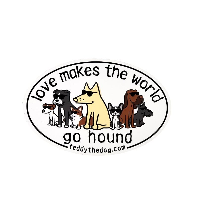Love Makes The World Go Hound - Car Magnet