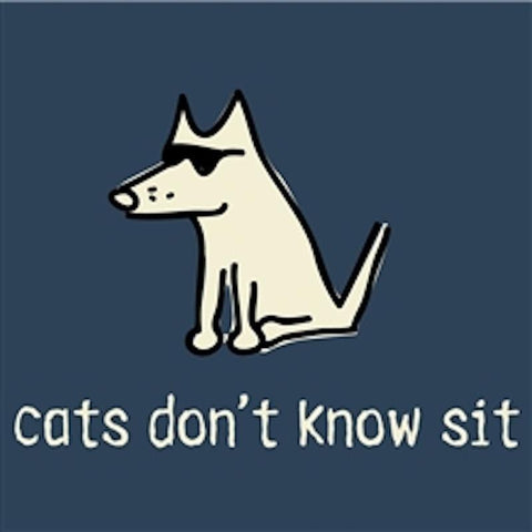 Cats Don't Know Sit - Ladies T-Shirt 3-4 Sleeve - Teddy the Dog T-Shirts and Gifts