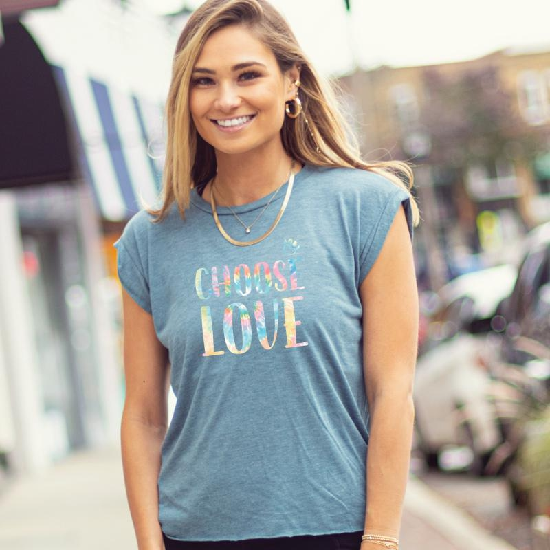 Choose Love - Big Tie Dye Letters - Ladies Flowy Muscle Tee