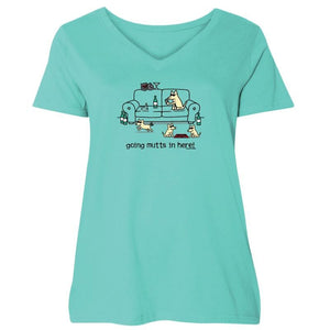 Going Mutts In Here! - Ladies Curvy V-Neck Tee