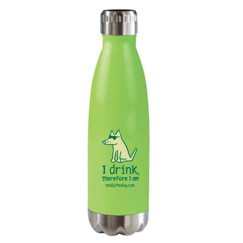 I Drink, Therefore I Am - Stainless Steel Insulated Water Bottle - Teddy the Dog T-Shirts and Gifts