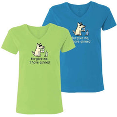 Forgive Me, I Have Ginned - Ladies T-Shirt V-Neck - Teddy the Dog T-Shirts and Gifts