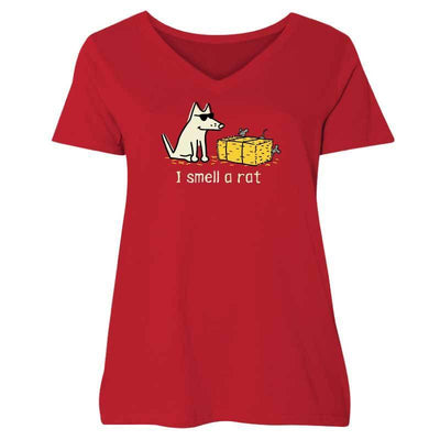 I Smell A Rat - Ladies Curvy V-Neck Tee - Teddy the Dog T-Shirts and Gifts