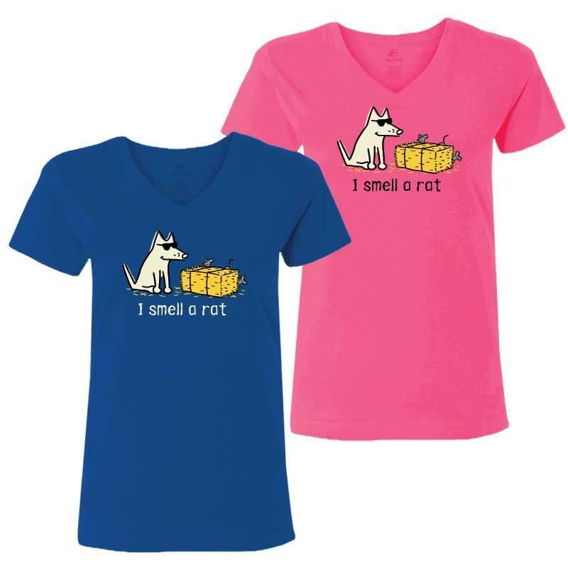 I Smell A Rat - Ladies T-Shirt V-Neck - Teddy the Dog T-Shirts and Gifts