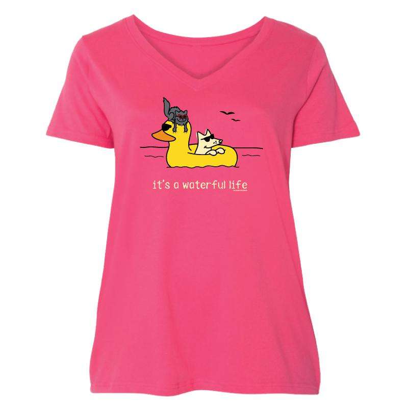 It's A Waterful Life - Ladies Curvy V-Neck Tee