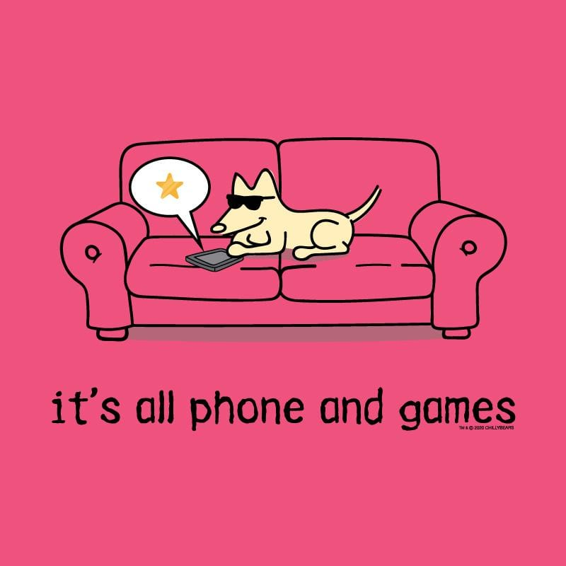 It's All Phones And Games  - Ladies Curvy V-Neck Tee