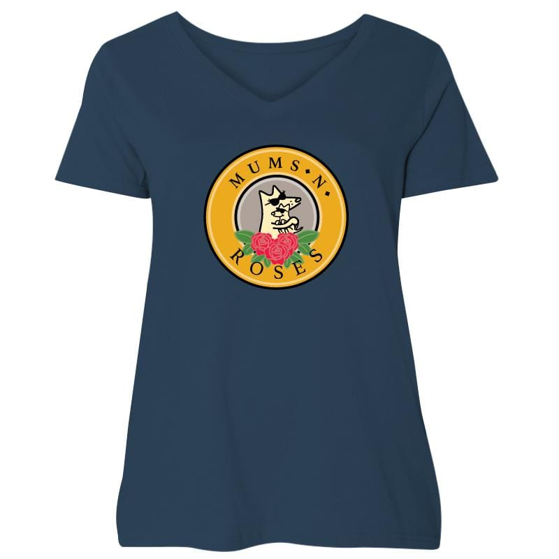 Mums And Roses - Ladies Curvy V-Neck Tee