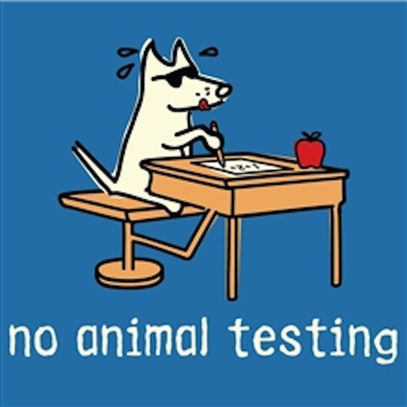 No Animal Testing - Ladies T-Shirt Crew Neck - Teddy the Dog T-Shirts and Gifts
