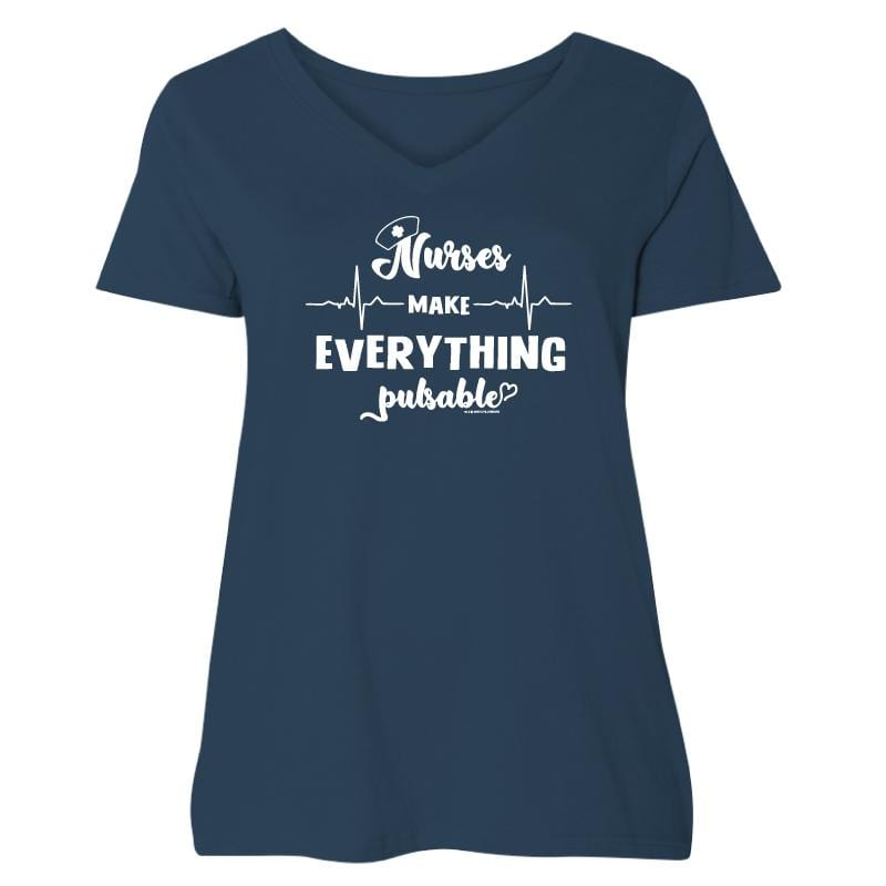 Nurses Make Everything Pulsable  - Ladies Curvy V-Neck Tee