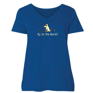Oy To The World! - Ladies Curvy V-Neck Tee