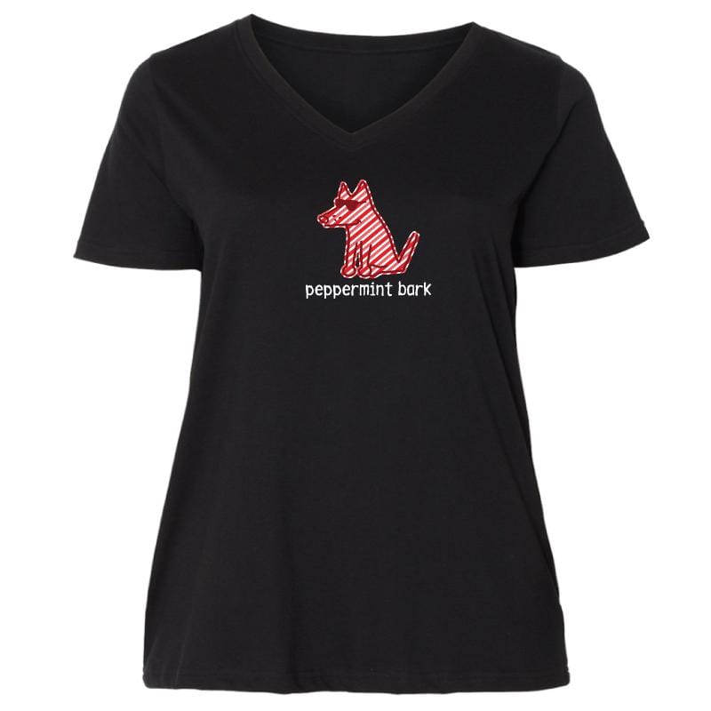 Peppermint Bark - Ladies Curvy V-Neck Tee