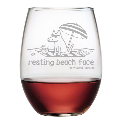 Resting Beach Face - Wine Glass