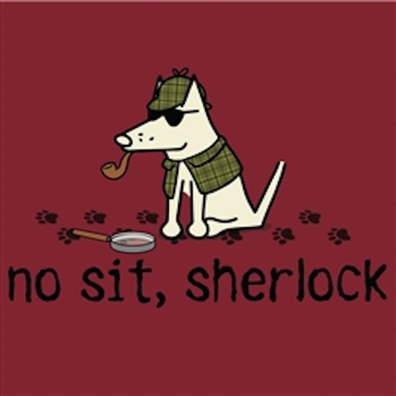 No Sit Sherlock - Ladies T-Shirt V-Neck - Teddy the Dog T-Shirts and Gifts