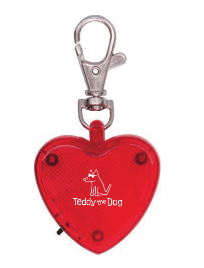 Heart Light Up Key Chain - Teddy the Dog T-Shirts and Gifts