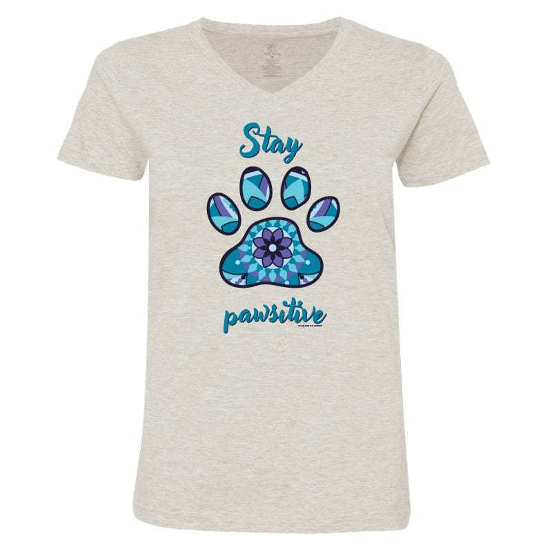 Stay Pawsitive - Ladies T-Shirt V-Neck