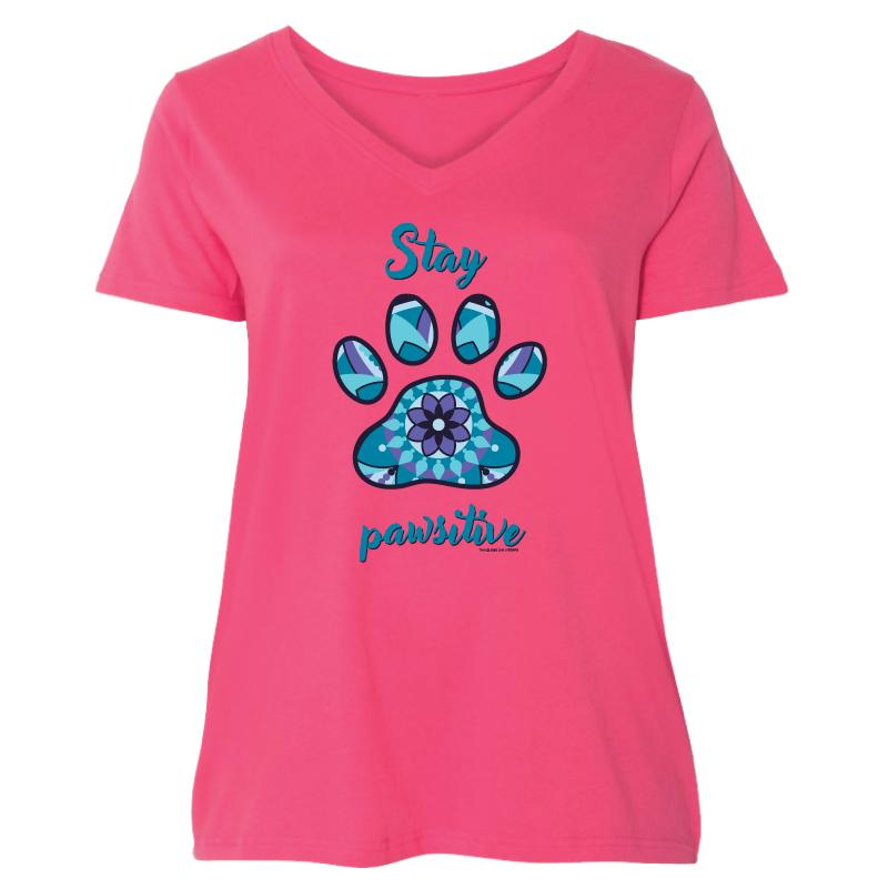 Stay Pawsitive - Ladies Curvy V-Neck Tee