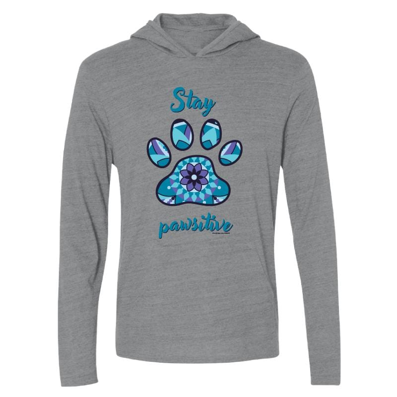 Stay Pawsitive- Long-Sleeve Hoodie T-Shirt