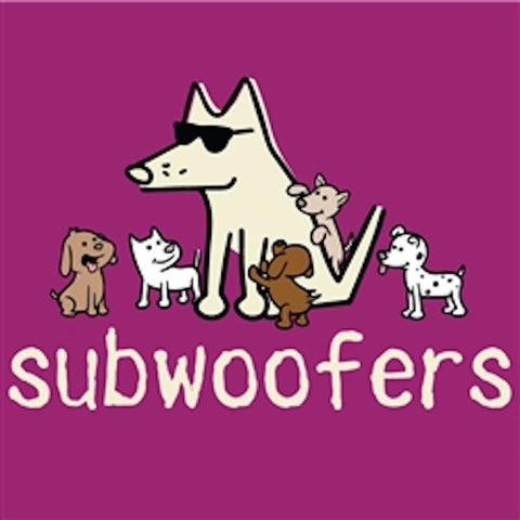 Subwoofers - Ladies T-Shirt V-Neck - Teddy the Dog T-Shirts and Gifts