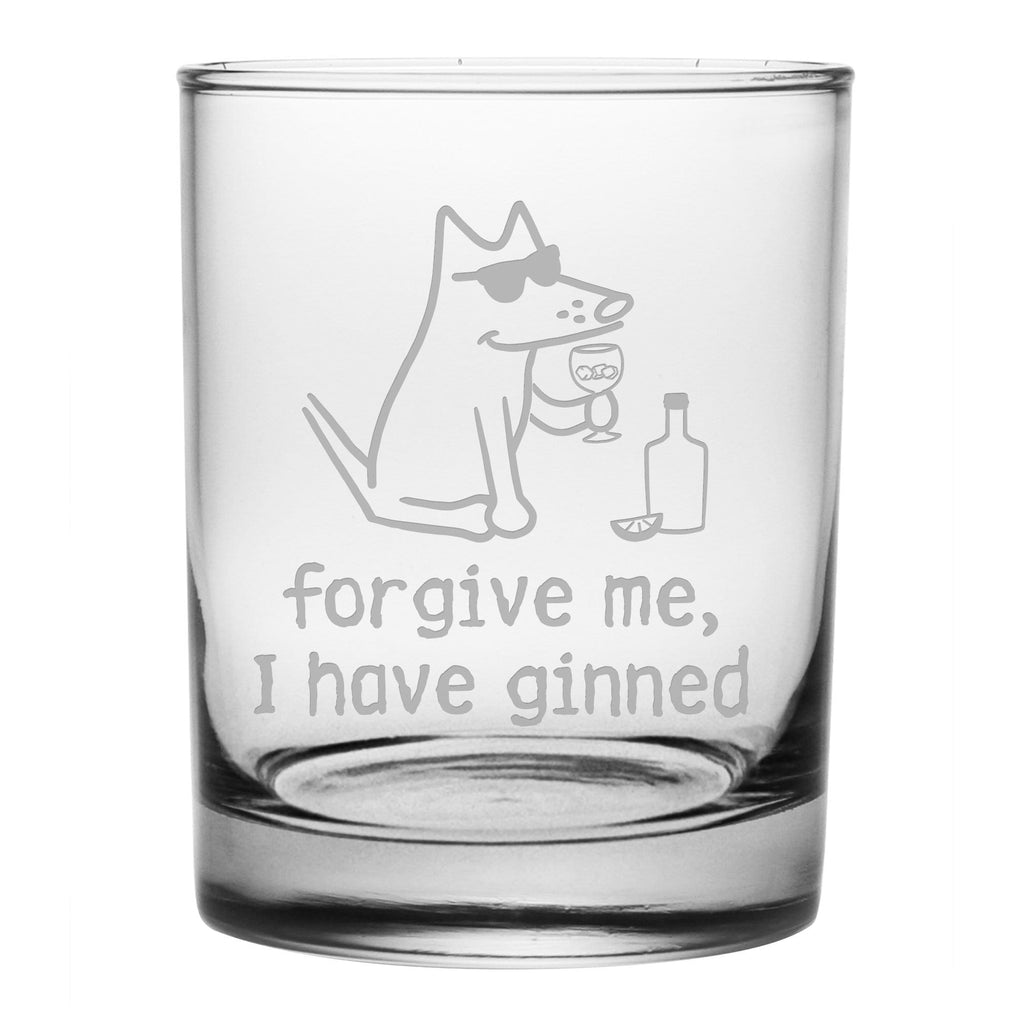 Forgive Me, I Have Ginned - Low Ball Gin Glass - Teddy the Dog T-Shirts and Gifts