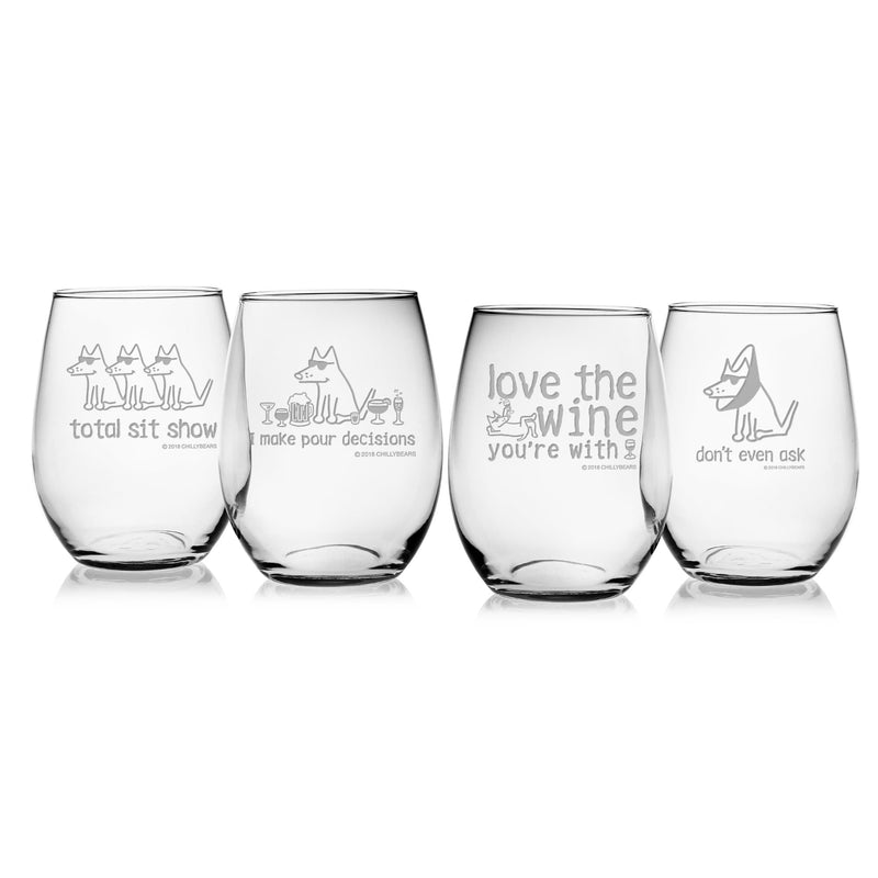 Assorted Set of 4 Wine Glasses