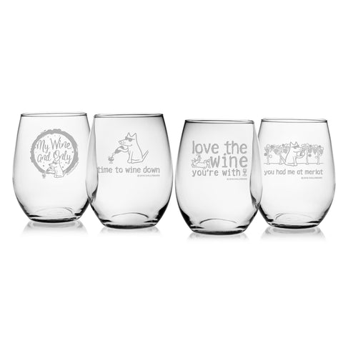 Wine Essentials - Assorted Set of 4 Wine Glasses