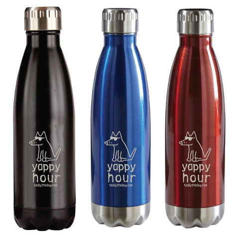 Yappy Hour Stainless Steel Insulated Water Bottle - Teddy the Dog T-Shirts and Gifts