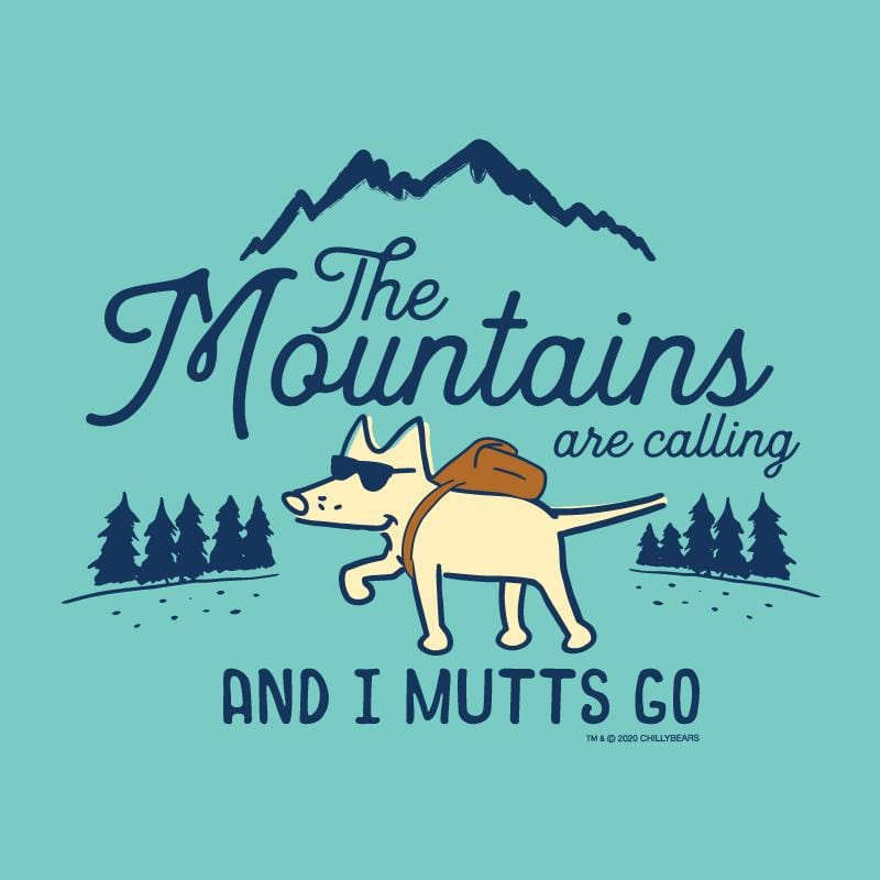 The Mountains Are Calling And I Mutts Go - Ladies Curvy V-Neck Tee