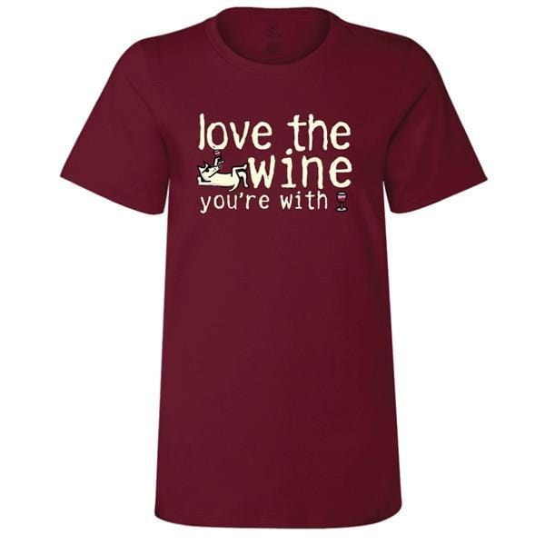 love the wine youre with ladies crew neck t-shirt