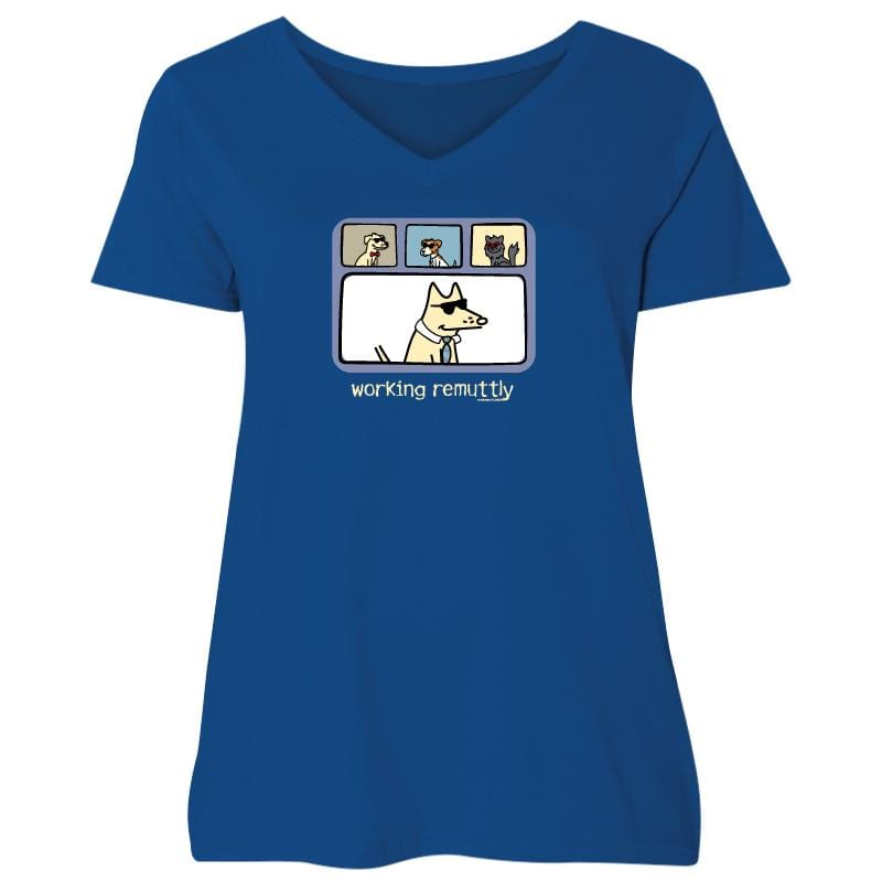 Working Remuttly - Ladies Curvy V-Neck Tee