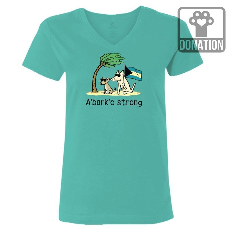 Teddy's A'Bark'o Strong  - Ladies T-Shirt V-Neck