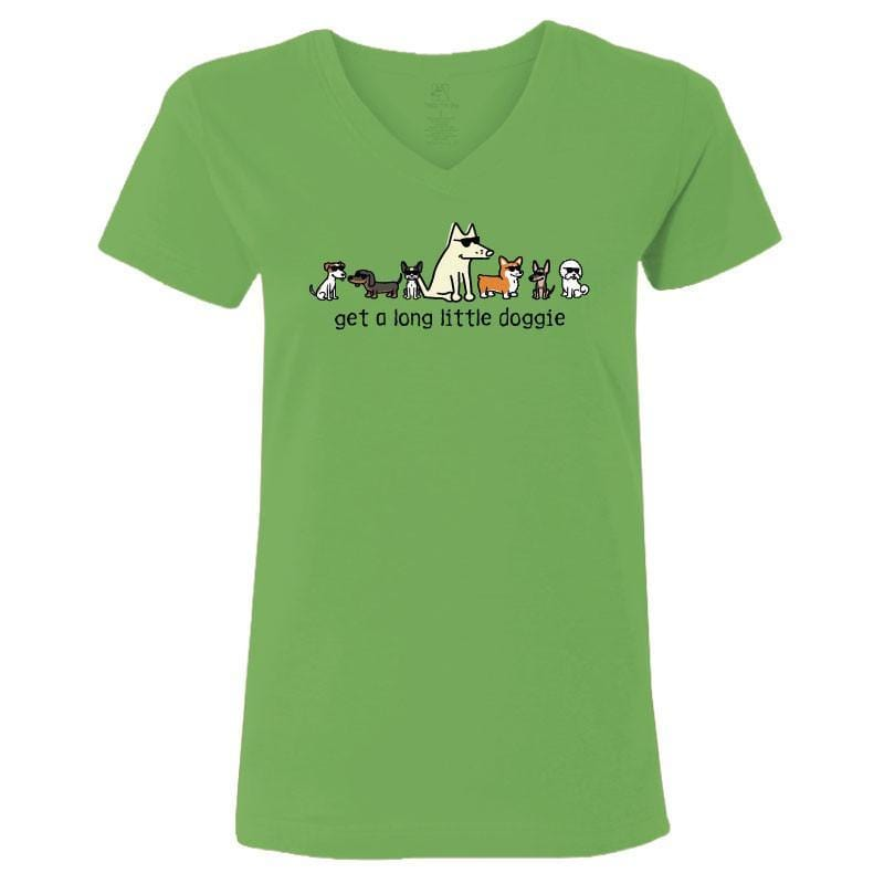 Get A Long Little Doggie - Ladies T-Shirt V-Neck - Teddy the Dog T-Shirts and Gifts